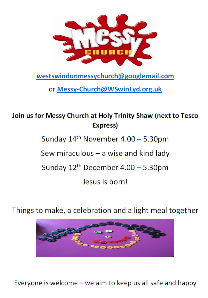 Messy Church invitation Sun Sept 9th, Oct 14th and Nov 11th, 4 till 5:30pm