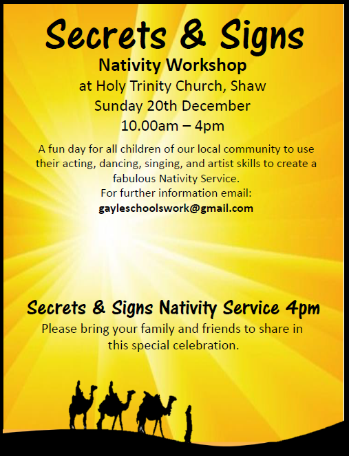 Secrets and Signs poster - Nativity Workshop Sun 20th December